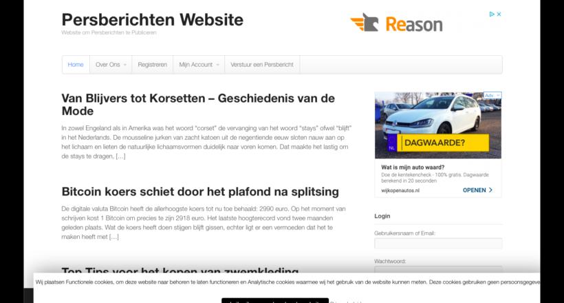 Persberichten website